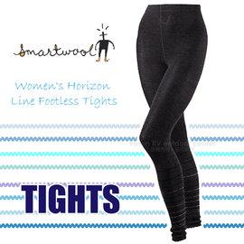 【美國 SmartWool 】女款 Horizon Line Footless Tights 美麗諾羊毛 保暖長褲/內搭褲.衛生褲.緊身褲/聰明羊.登山健行_ SB619 黑灰