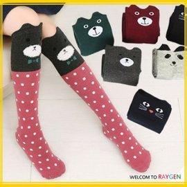 童襪 立體卡通動物造型條紋點點膝上襪 中筒襪【HH婦幼館】