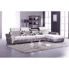 ~ODS~冬雪L型頭枕可調式布沙發~全套總長370cm^(此款報價含中椅^)