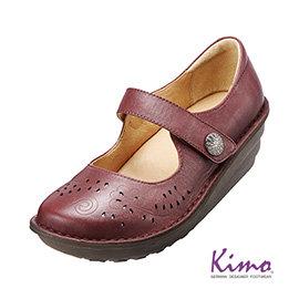 減壓典雅厚底手縫鞋 氣質紅K15WF011587 牛皮•手縫鞋•舒適寬楦~Kimo德國 氣