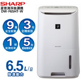 SHARP夏普6.5L智慧型自動除菌離子除濕機DW~F65HT DWF65HT ^~^~免
