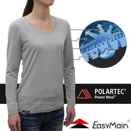 【EasyMain 衣力美】女新款 POLARTEC Power Wool 經典級羊毛排汗保暖抗菌防臭衛生衣(高透氣.高彈性)圓領貼身內衣.內搭衣/T1572 米灰