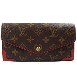 Louis Vuitton LV M61184 Sarah 花紋發財包扣式長夾.紅 價 2