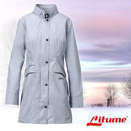 【意都美 Litume】女款 單件式輕量化防水長版風衣外套(馬卡龍時尚款_可變換不同造型)/連帽防風中長大衣.排汗透氣_灰藍 E8732