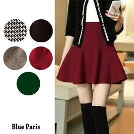 圓裙 ~ 鬆緊高腰針織傘裙  短裙~5色~藍色巴黎~23251 ~