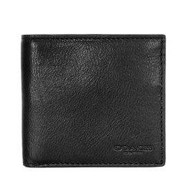 COACH 75003 黑色全皮四卡零錢袋短夾