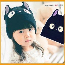 帽子 超Q黑色貓咪立體耳朵造型針織帽 親子帽【HH婦幼館】