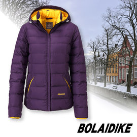 【波萊迪克bolaidike】女新款 立體輕量防潑水透氣保暖羽絨外套(帽可拆)/蓄熱防風夾克(100%FTC 水鳥羽絨)登山滑雪衣.賞雪_紫 TF058