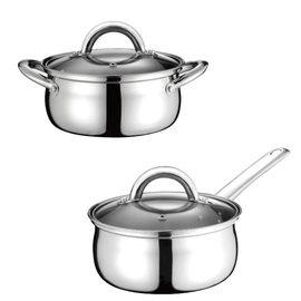 鍋寶不鏽鋼雙鍋組 單柄 x1 雙耳 x1 超快速 1.4L 16cm  SS-0016  **免運費**