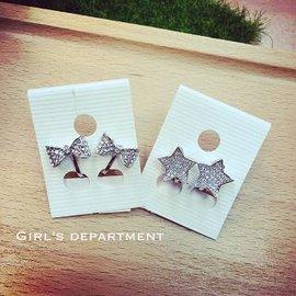 蝴蝶結 星星夾式耳環