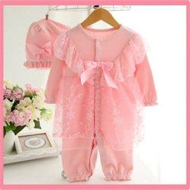 童裝 純棉嬰兒衣服 女新生兒 寶寶公主蕾絲 哈衣連體衣 滿月百天禮服【HH婦幼館】