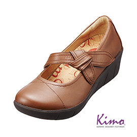 單結飾帶真皮厚底鞋 風情棕K15WF077025 牛皮•回彈減壓~Kimo德國 氣墊鞋