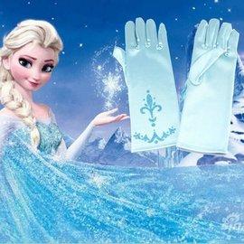 ~mimi shop~冰雪奇緣艾莎公主 雪花手套一對 童款:淺藍色  生日禮