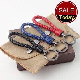 編織鑰匙扣 真皮汽車鎖匙圈 柔軟細膩羊皮編織紋男女士情侶鑰匙鏈  小 掛件鑰匙扣