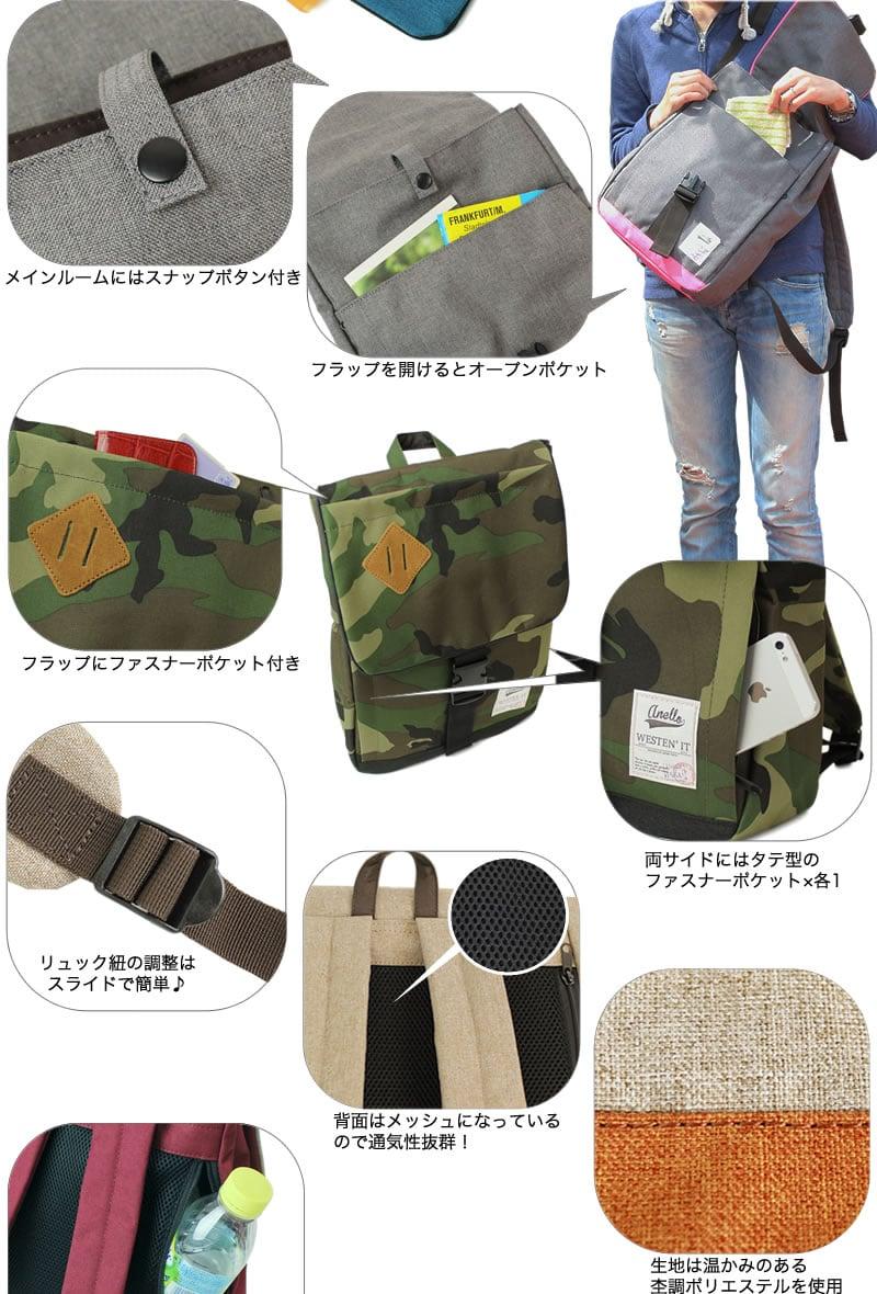【黑皮酱】anello 日本乐天销售排行榜后背包 猪鼻子掀盖扣环 米色 s图片