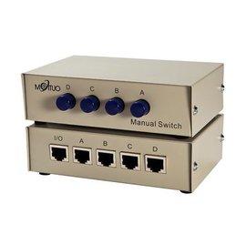 (手動式switch) RJ45 四進一出 4切1 4port/4埠 網路切換器/轉換器