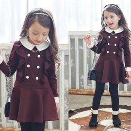 2015 女童 連衣裙童裙 女孩 英倫學院風優雅甜美連衣裙洋裝 女童純棉不倒絨翻領拼色木耳