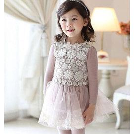 2015 女童網紗連衣裙 女童純棉不倒絨花朵繡花拼接網紗蓬蓬連衣裙洋裝 女孩甜美可愛優雅氣