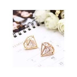 金元山珠寶銀樓~品名:  貴氣名媛~鑽石超人~防敏鋼針耳環~彩鑽1對入~