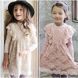 2015  連衣裙 女童蕾絲木耳邊遮肩長袖下擺百褶波浪邊連衣裙洋裝 女孩 優雅氣質淑女可愛