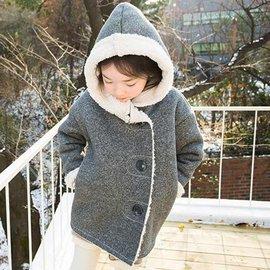 2015 女童 保暖大衣連帽外套 女童單排釦羊羔絨寬鬆闊型加厚保暖連帽大衣外套  純色簡約