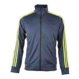 Adidas CLIMALITE 系列 針織 流行 休閒 運動 外套-丈青/綠 (AB7726)