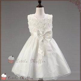 純白 立體玫瑰蝴蝶結無袖蓬蓬裙小禮服 洋裝 花童禮服