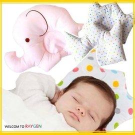 卡通大象皇冠純棉嬰兒定型枕 防偏頭 小枕頭【HH婦幼館】