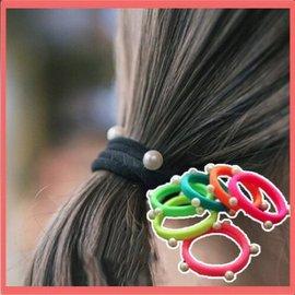 髮飾 韓版頭飾 髮飾 基礎款珍珠髮圈 頭花 頭繩 紮頭髮皮筋【HH婦幼館】