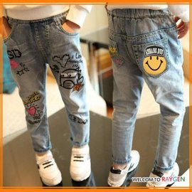 童裝 個性水洗塗鴉印花加絨牛仔褲 休閒褲【HH婦幼館】