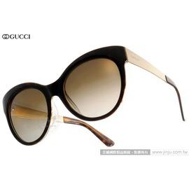 GUCCI 太陽眼鏡 GG3760FS 2EZHA (琥珀-金) 魅力復古赫本風貓眼款 墨鏡 # 金橘眼鏡