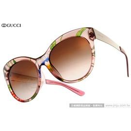GUCCI 太陽眼鏡 GG3760FS 2F6J6 (彩繪透紅-銀) 魅力復古赫本風貓眼款 墨鏡 # 金橘眼鏡