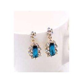 金元山珠寶銀樓~品名:  貴氣名媛~璀璨之星~純金電鍍防敏耳環~藍寶石1對入~