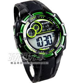 捷卡 JAGA 多 冷光電子腕錶 黑x綠 童錶 M997~AF