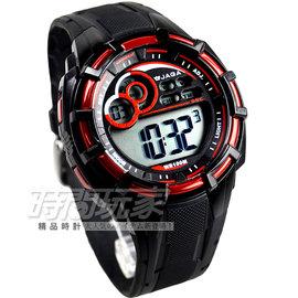 捷卡 JAGA 多 冷光電子腕錶 黑x紅 童錶 M997~AG