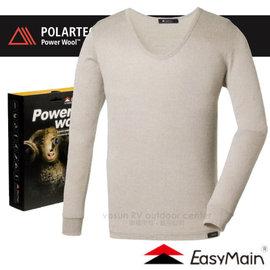 【EasyMain 衣力美】男新款 POLARTEC Power Wool 經典級羊毛排汗保暖抗菌防臭衛生衣(高透氣.高彈性)低圓領貼身內衣.內搭衣/T1573 米灰
