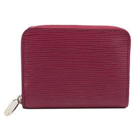 Louis Vuitton LV M60383 EPI 水波紋皮革信用卡拉鍊零錢包.紫紅