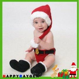 寫真 新款毛線編織嬰兒拍照服裝 聖誕老公公 帽子 褲子 鞋子 套裝三入組【HH婦幼館】