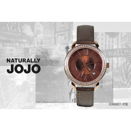 ~時間道 ~〔JOJO~錶〕咖啡面鑽框 腕錶–玫瑰金殼咖啡皮 ^(JO96887~95R^