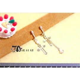 ~JA夾式耳環~JA原創飾品~→細緻氣質^~銀色十字架SWAROVSKI水晶珍珠不對稱垂墜