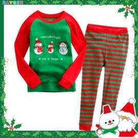 童裝 聖誕 家居服 套裝 男女童 長袖純棉內衣褲 睡衣 三雪人款【HH婦幼館】
