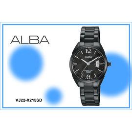 ~時間道~〔ALBA~錶〕簡約藍寶石水晶玻璃腕錶^(小^) – 黑面黑鋼^(VJ22~X2