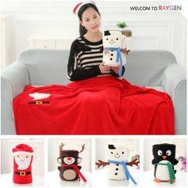 聖誕老人麋鹿雪人企鵝造型毛毯 抱毯 空調毯 【HH婦幼館】