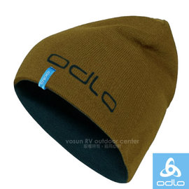 【瑞士 ODLO】限量 大Logo 6縫式3D立體雙層彈性透氣保暖帽(僅80g.可遮耳雙面載)針織帽.柔軟舒適.適賞雪滑雪登山健行/776530 麥金/海軍藍