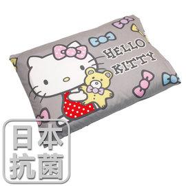 枕頭 兒童枕~抗菌乳膠枕 精梳棉 HelloKitty哈尼小熊~灰 美國棉 品牌 鴻宇
