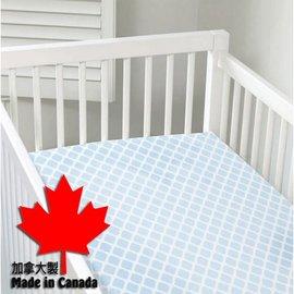 加拿大 Kushies 棉絨嬰兒床床包~粉藍菱格紋 70x140cm 已拆開