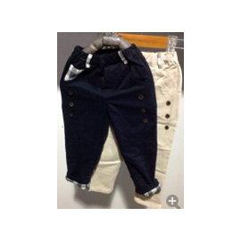 格紋滾邊長褲 ^(藍色^)