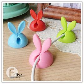 【Q禮品】B2700 兔耳固線器-4入/萌兔耳朵 桌面集線器 糖果色固線器 捲線器 理線器 整線器 夾線器