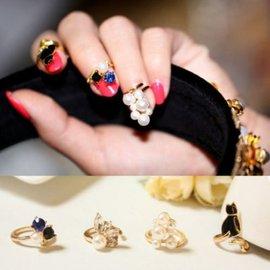 韓版 寶石貓咪珍珠 珍珠指甲 美甲關節戒指 指環四件套 【HH婦幼館】