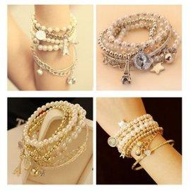 多元素 艾菲爾鐵塔 珍珠複古手鐲 韓版飾品 多層手鏈【HH婦幼館】